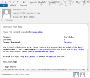 License E-mail Message